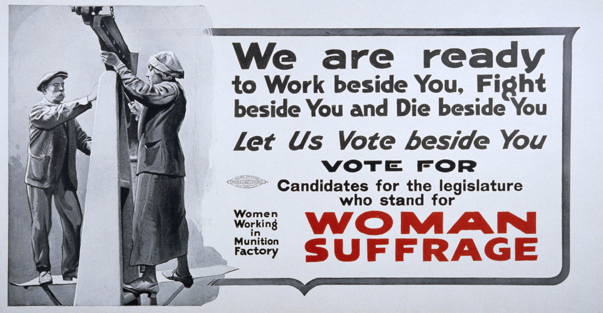 Womens suffrage poster making strong appeal to voters to support candidates in favor of allowing women the right to vote. (Photo by David J. & Janice L. Frent/Corbis via Getty Images