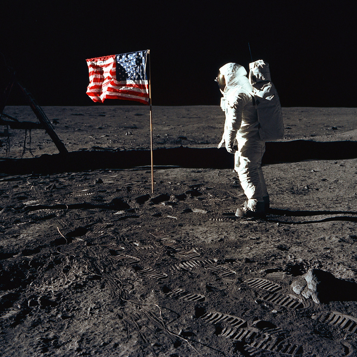 Buzz Aldrin with the American flag on the moon in 1969.