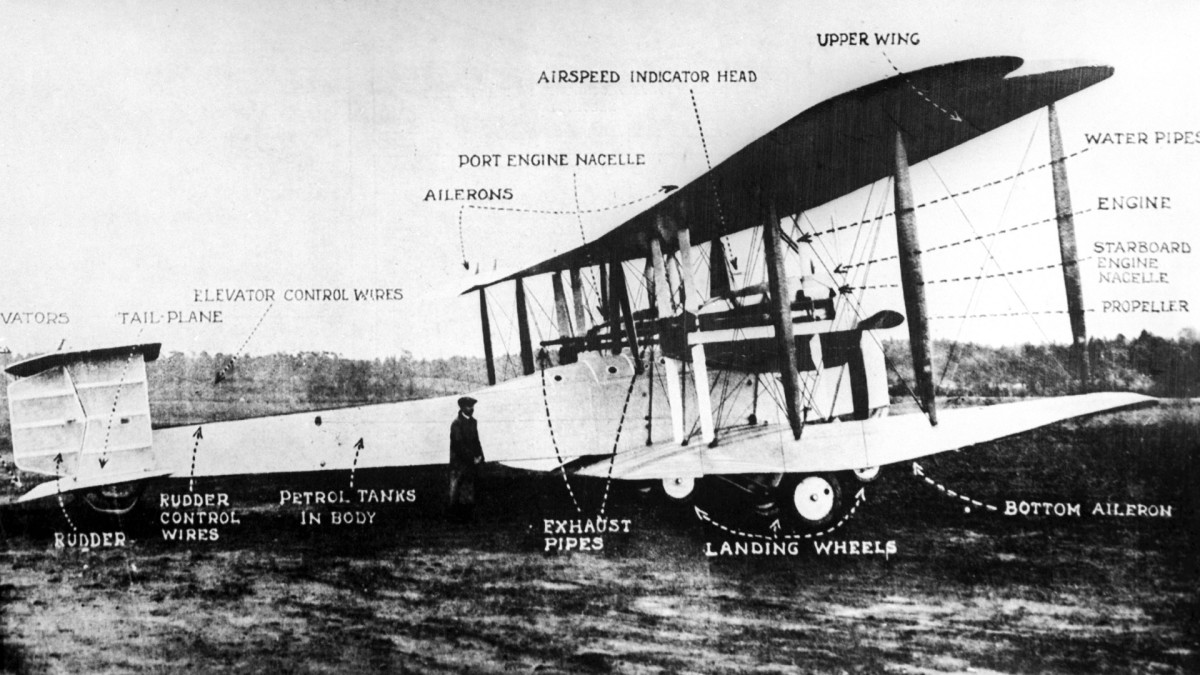 Vickers Vimy twin-engined biplane, a converted WWI bomber, flown by former RAF fliers John Alcock and Arthur Whitten Brown on their nonstop transatlantic flight.