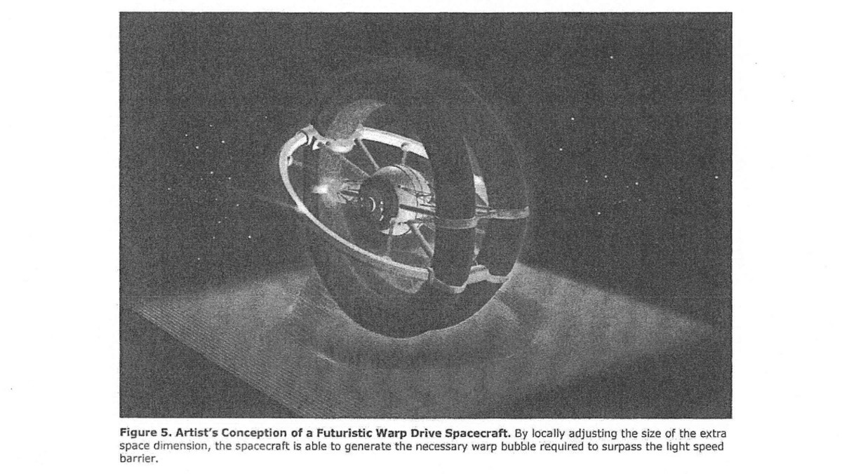 Artist's rendering from the AATIP study entitled 'Warp Drive, Dark Energy, and the Manipulation of Extra Dimensions'