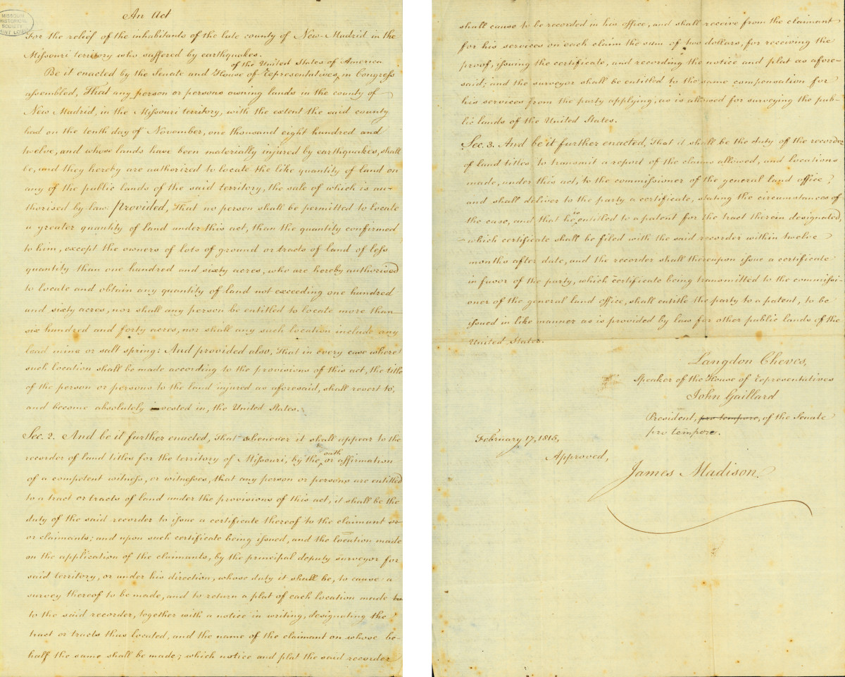 An act for the relief of the inhabitants of New Madrid, signed by Langdon Cheves, John Gaillard, and James Madison, February 17, 1815