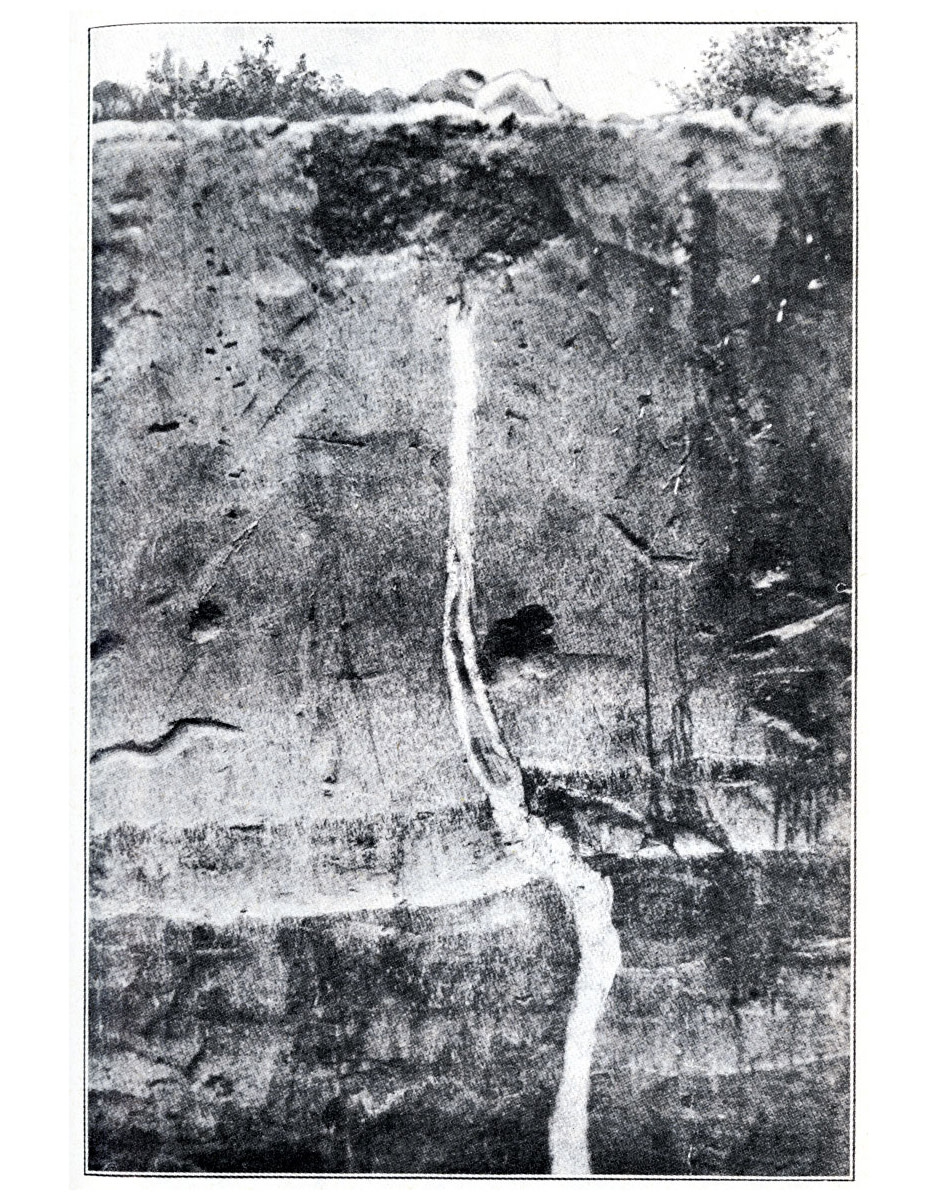 An earthquake fissure that later filled with sand in Mississippi County, Missouri.