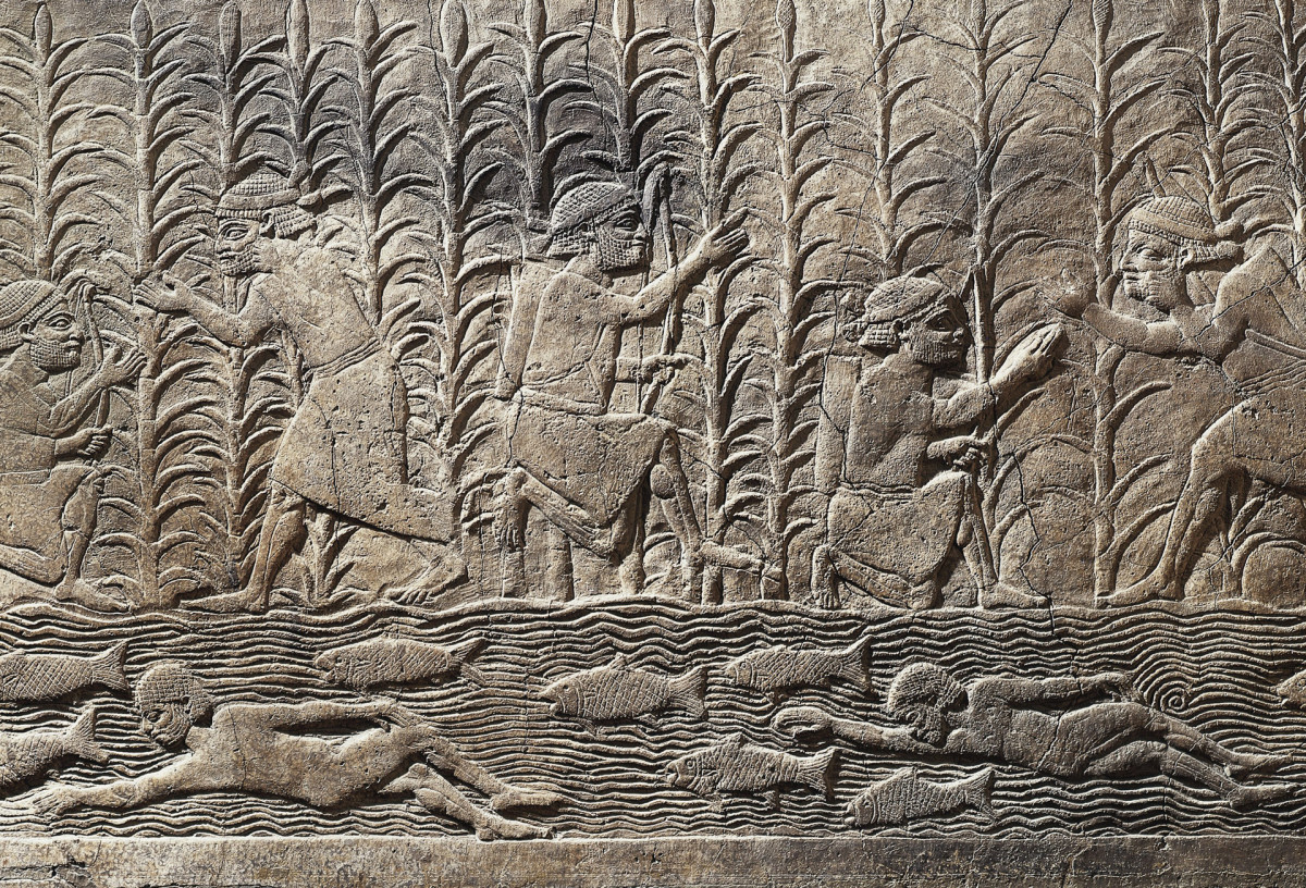 A Mesopotamian relief showing the agricultural importance of the rivers.