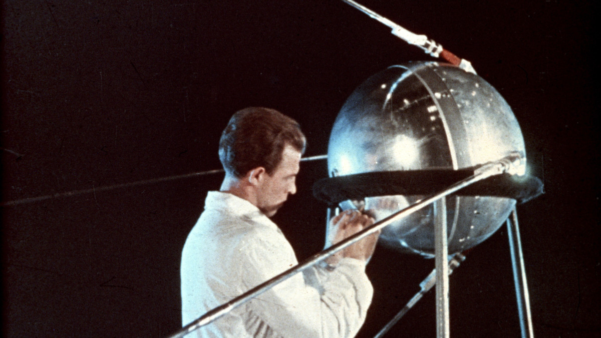 Soviet technician working on Sputnik 1, circa 1957.