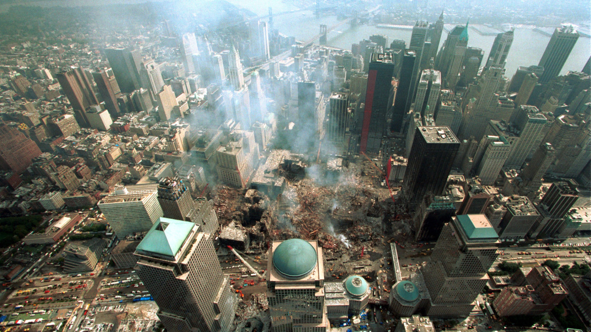 Ground Zero after the 9/11 Attacks on NYC's Twin Towers, September 11, 2001