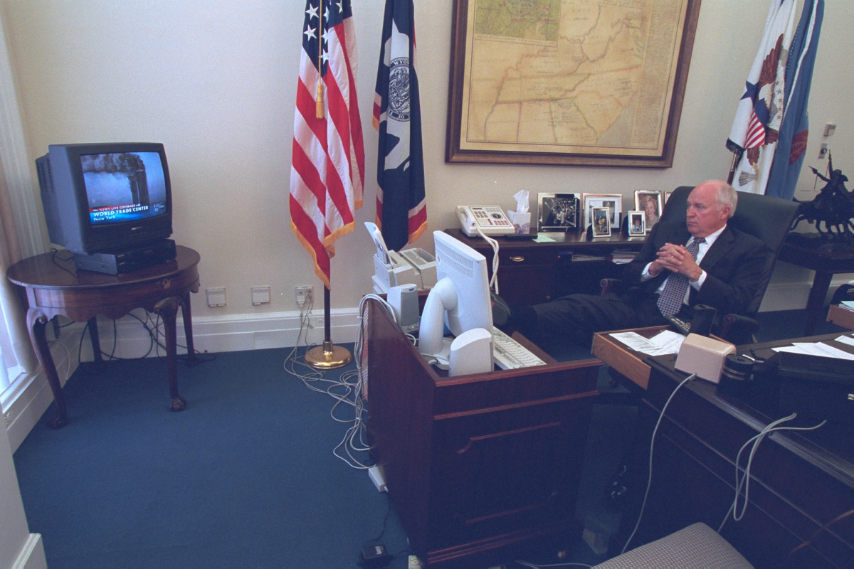 Vice President Dick Cheney watching the news on the attacks on the World Trade Center, Septemper 11, 2001