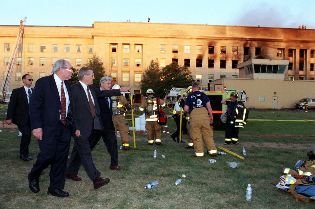 Donald Rumseld at the Pentagon after the attacks on September 11, 2001