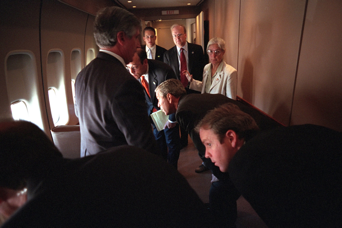 George W. Bush aboard Air Force One on September 11, 2001 during the 9/11 Attacks