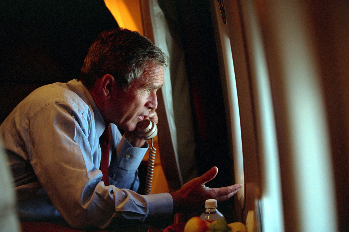 President George W. Bush aboard Air Force One during the 9/11 Attacks, September 11, 2001