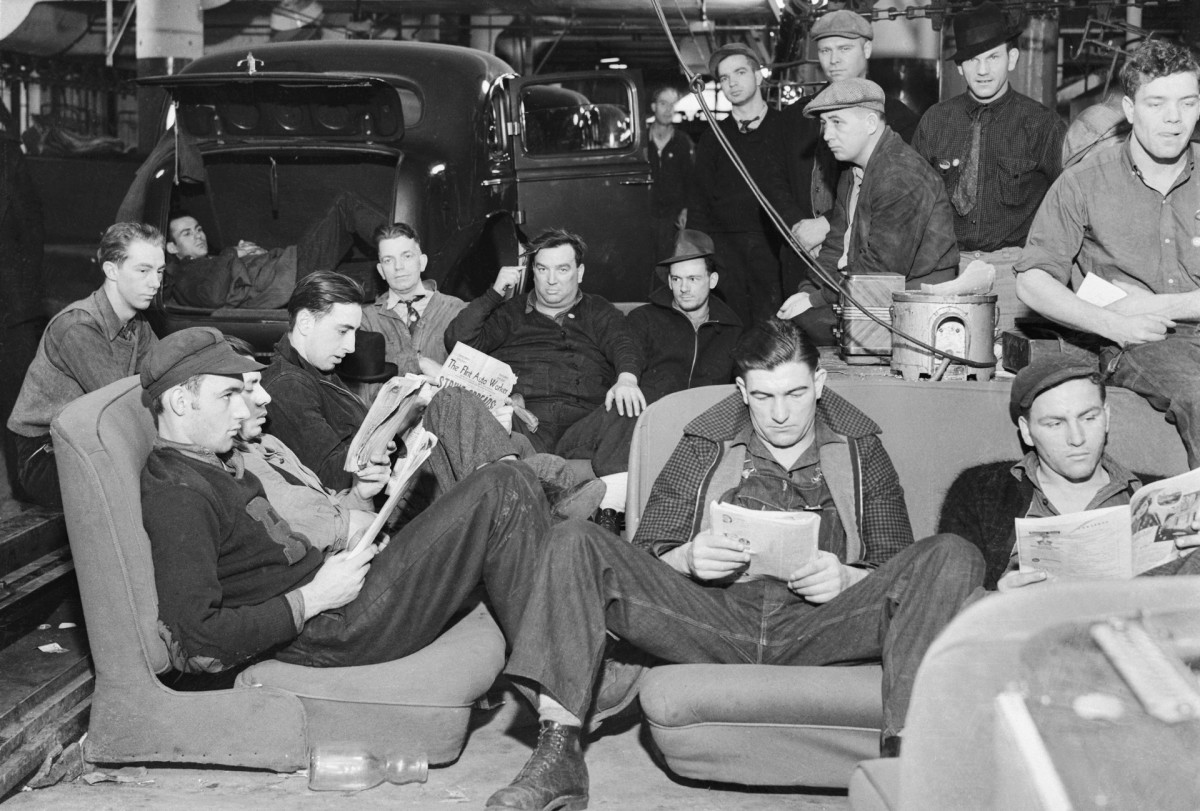 Early in 1935 in Flint, Michigan, the United Auto Workers staged the first successful sit-down, forcing General Motors to come to terms. It was a major victory and the sit-down spread to other areas.