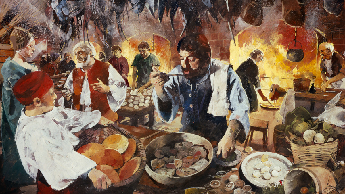 The kitchen at Kenilworth Castle in Warwickshire prepares for the feast in honor of Queen Elizabeth's visit, 1575.
