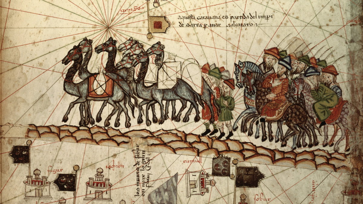 A nautical map representing Marco Polo with a caravan on the way to Cathay.