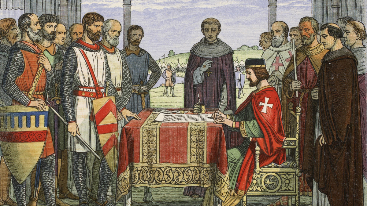 King John signing the Magna Carta, 1215