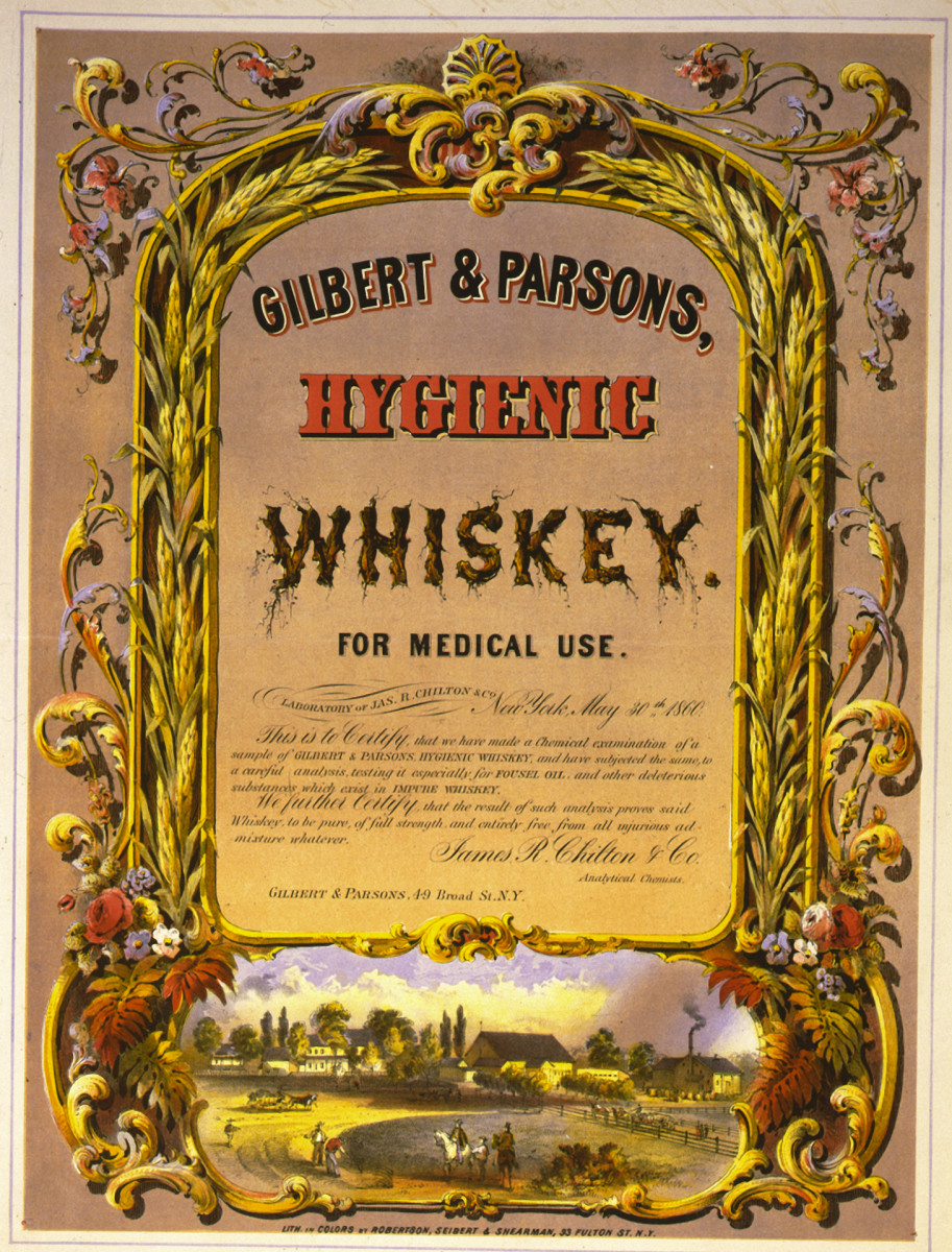 Advertisement for Gilbert & Parsons Hygienic Whiskey for medical use in the mid 19th century.