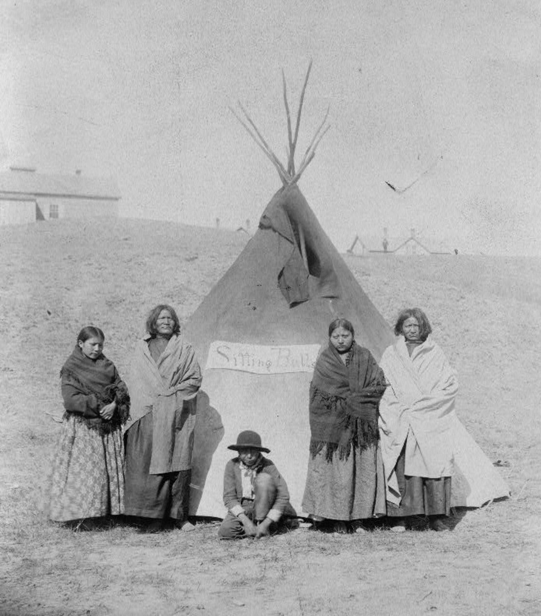 Sitting Bull's tepee and family.