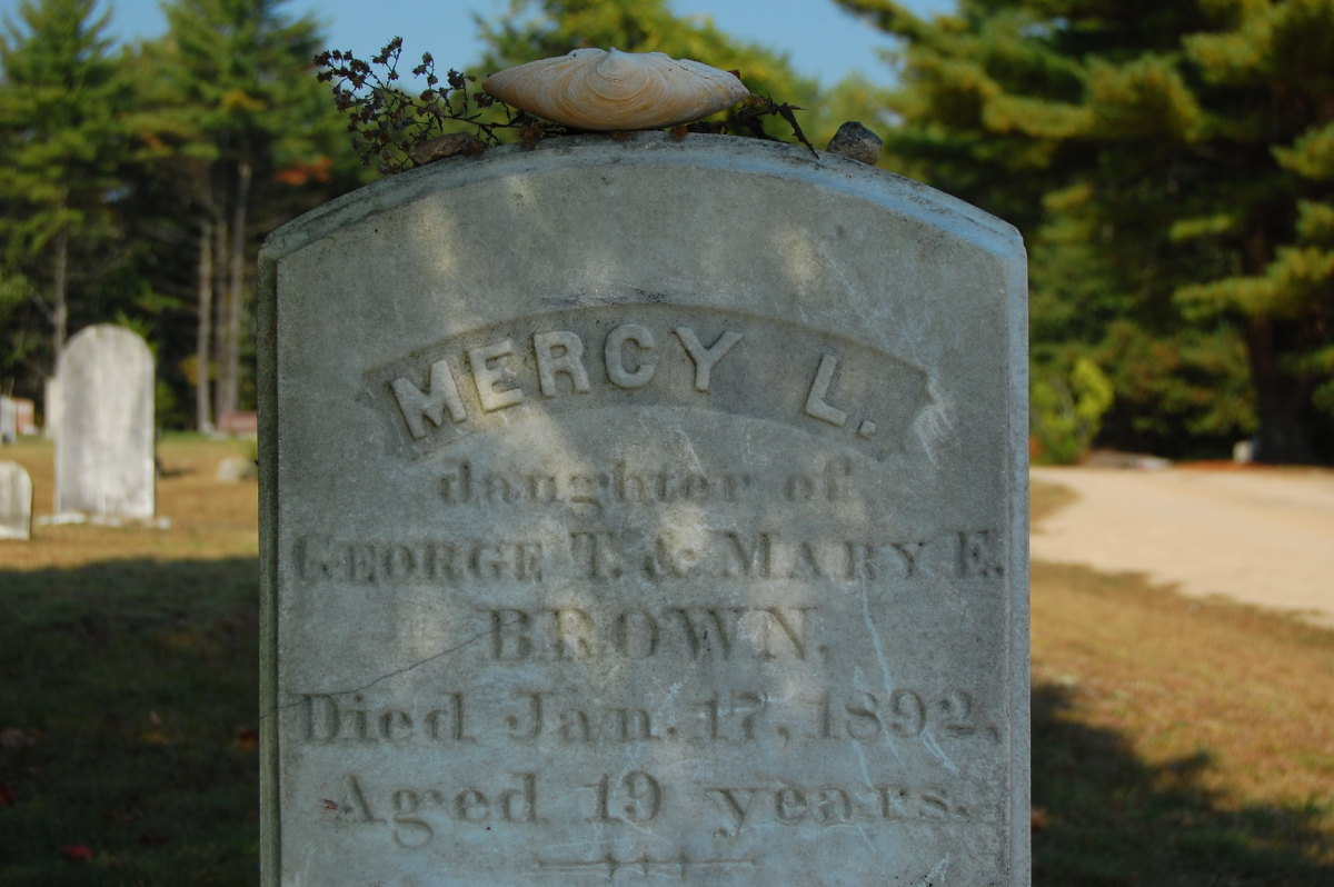 The headstone for 19-year-old Mercy Lena Brown, who died in January 1892 of consumption and whose body was later exhumed.