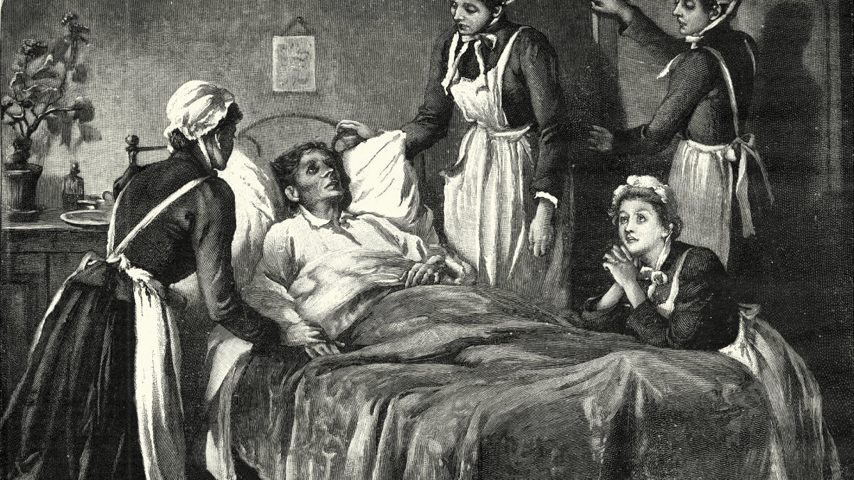 Illustration of a family member dying from consumption in the 19th century.