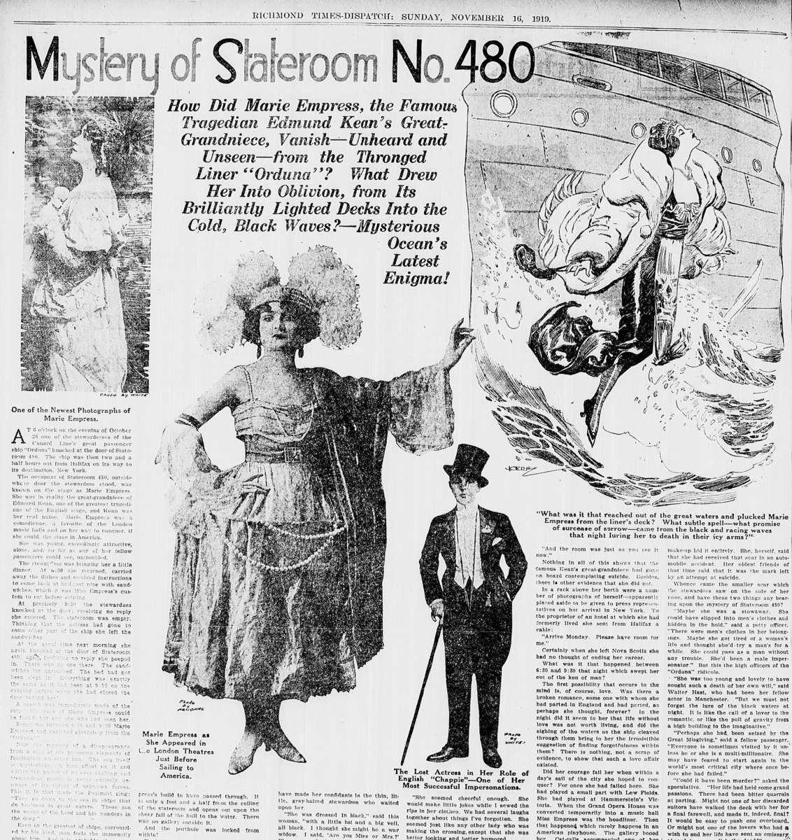 A detail of the article featured in the Richmond Times on November 16, 1919.
