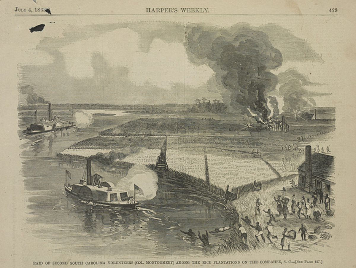 The July 4, 1863 issue of Harper's Weekly illustrating slaves escaping to a Union ship on the Combahee River, as buildings burn in the distance.