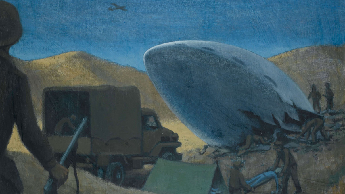 An illustration depicting the Roswell incident with aliens being carried away from the UFO crash site