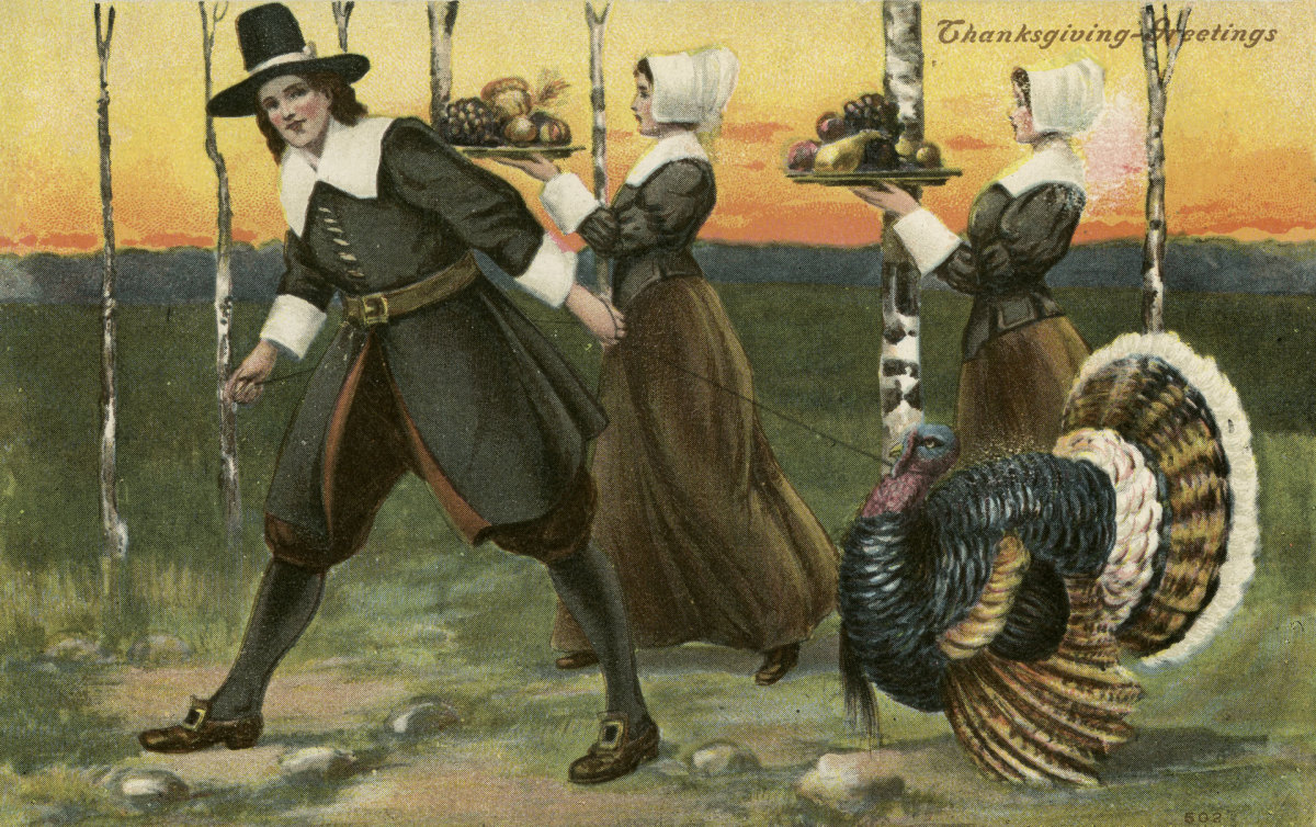 Illustration for a 1908 Thanksgiving postcard.