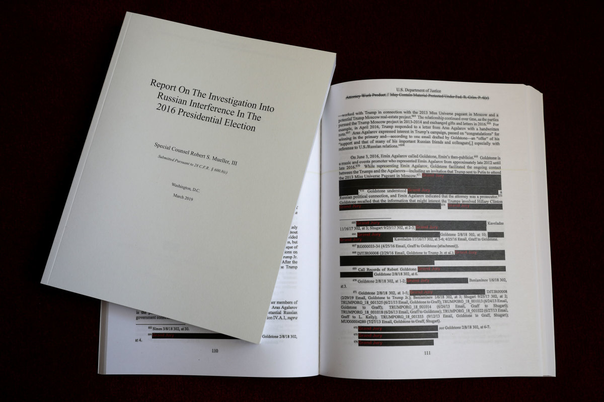 The redacted version of the Mueller Report released by the Justice Department shown on April 24, 2019.