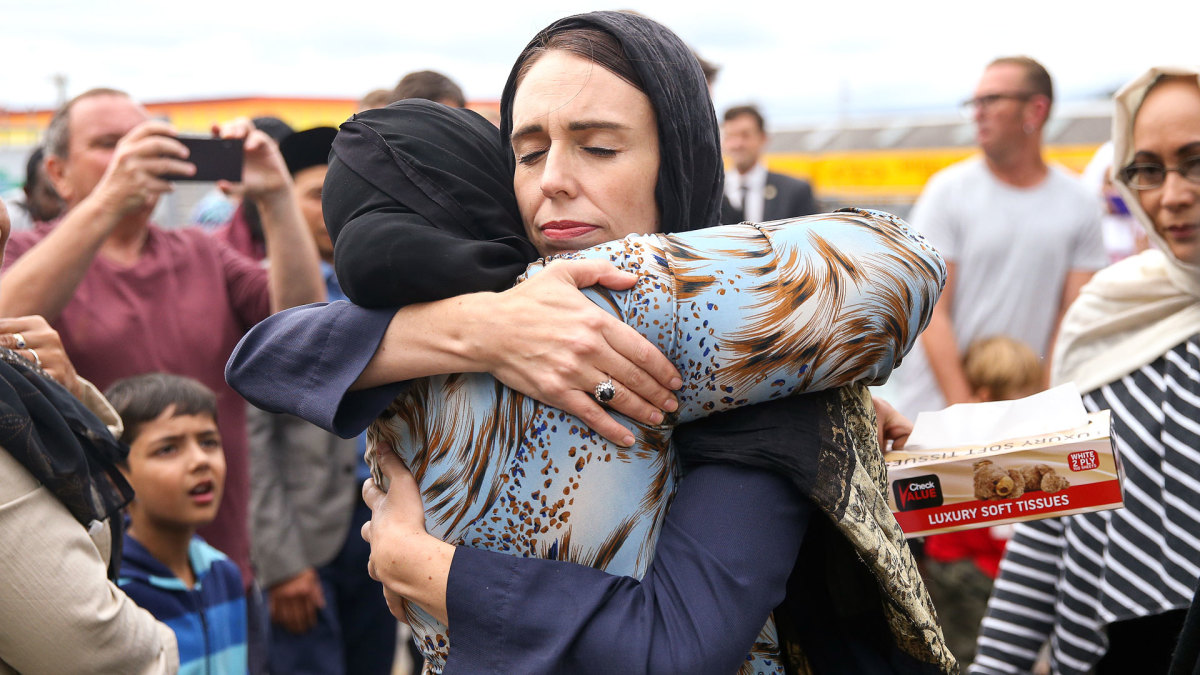 Prime Minister Jacinda Ardern hugs a mosque-goer at the Kilbirnie Mosque on March 17, 2019 in Wellington, New Zealand following the shooting attacks on two mosques in Christchurch on March 15, 2019. The attack is the worst mass shooting in New Zealand's history.