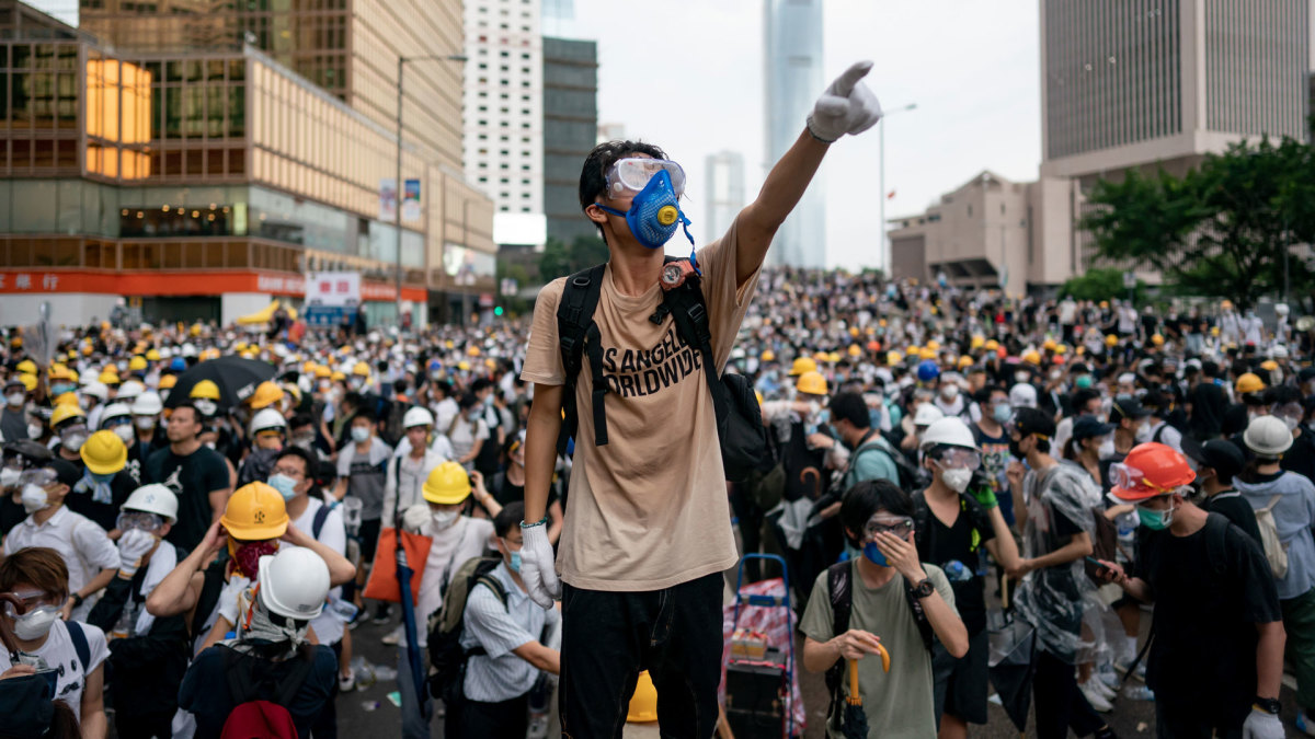 Large crowds of protesters gathered in central Hong Kong on June 12, 2019 as the city braced for another mass rally in a show of strength against the government over a divisive plan to allow extraditions to China.