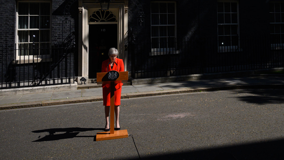 British Prime Minister Theresa May pictured on May 24, 2019 announcing her resignation.