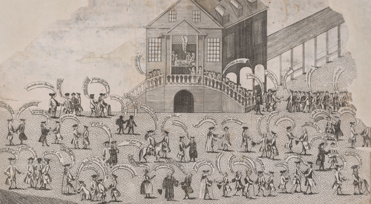 This cartoon is one of the earliest American-created pictures of voting. It is attributed to Henry Dawkins, who created satirical images of the contested 1764 Pennsylvania elections.