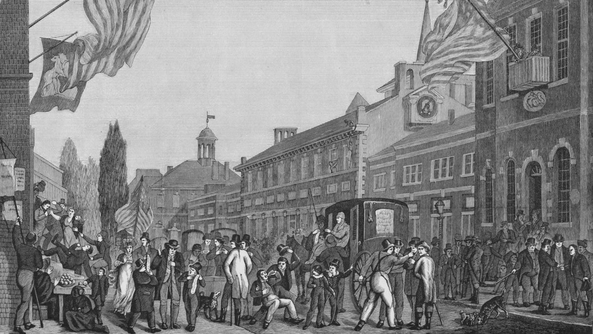 A riotous scene during elections, outside the State House in Philadelphia, 1815.
