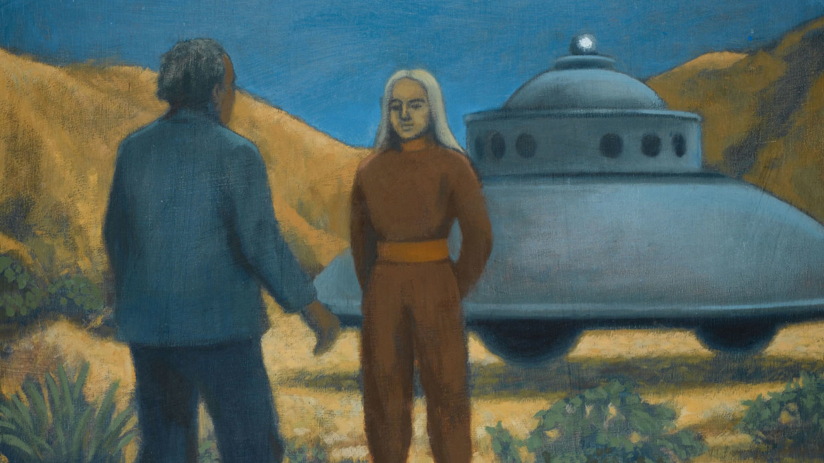 A painting depicting an encounter with a visitor from Venus at Desert Center, California, 1952.