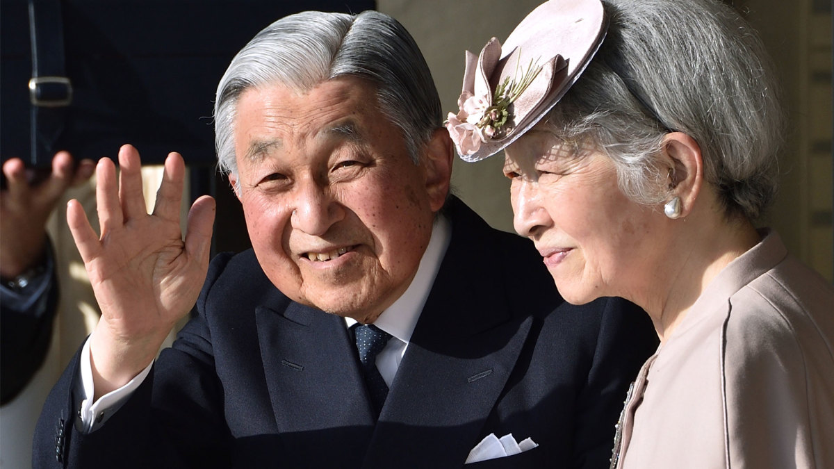 Japan's Emperor Akihito, with Empress Michiko, visiting central Japan while partaking in a series of rituals ahead of his abdication in April 2019.