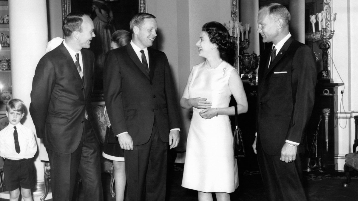 Queen Elizabeth with the astronauts of Apollo 11