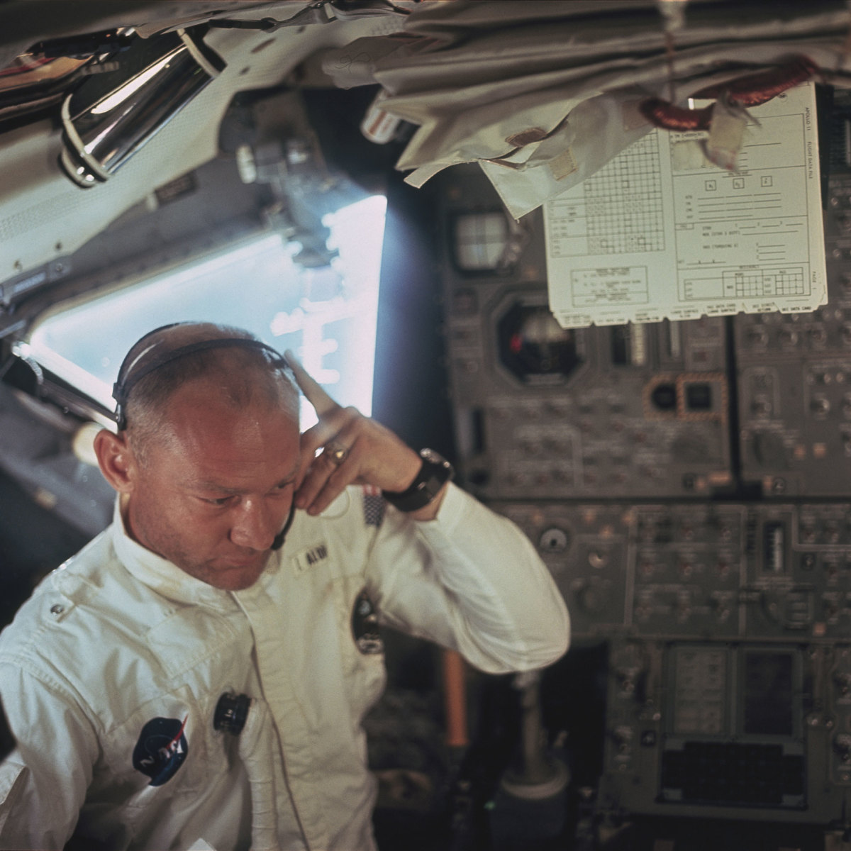 Lunar Module pilot Buzz Aldrin on the spaceflight Apollo 11 in July 1969.