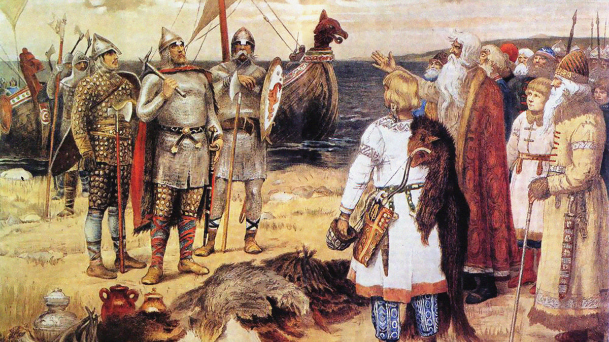 Rurik and his brothers arriving in Staraya Ladog.