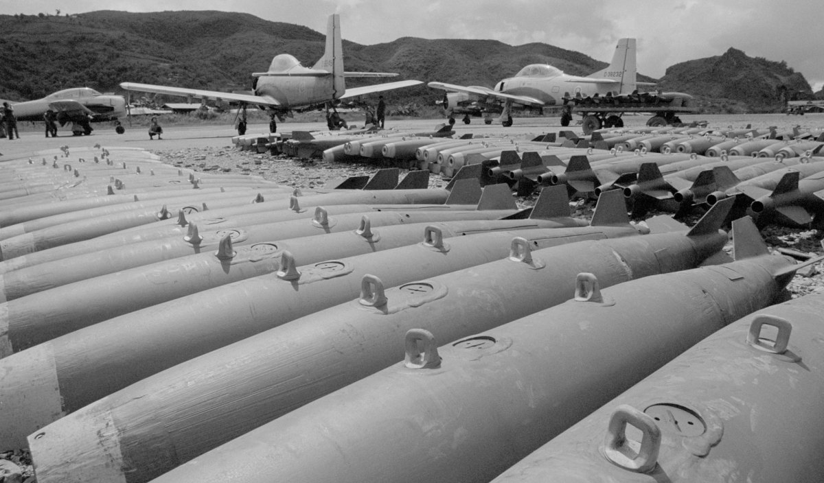 The U. S. and Laotian governments permitted newsmen a rare glimpse of a military base in Laos with 250-pound bombs used to fight against the North Vietnamese in northern Laos.
