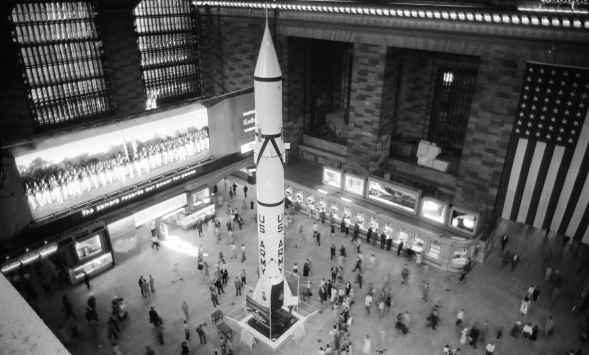 A rocket being displayed at Grand Central Station as a salute to International Geophysical Year in July 1957.