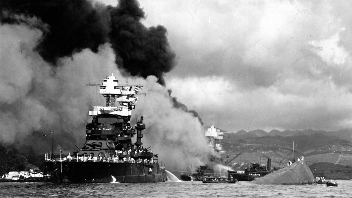 American battleship USS Maryland, relatively unscathed in the surprise attack on Pearl Harbor.