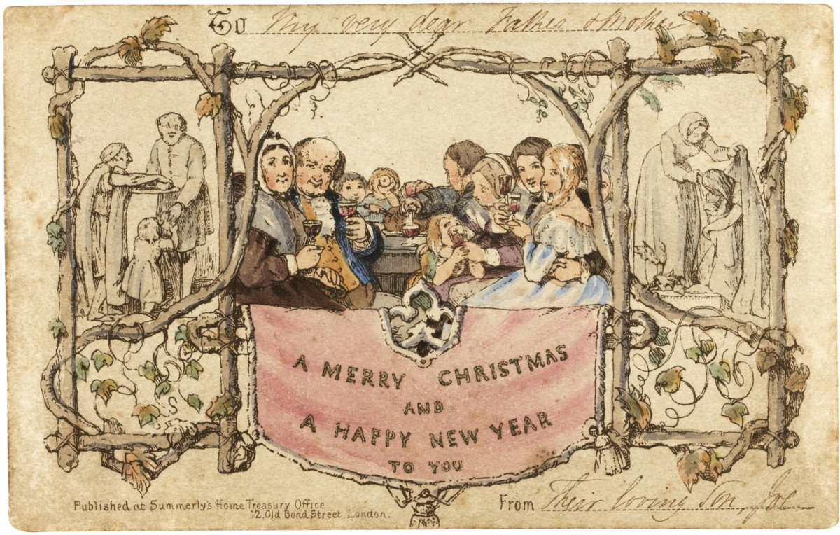 A Christmas card from the 1800s.