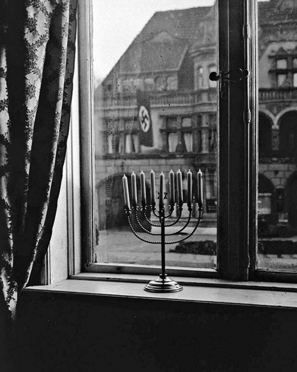 A menorah on a window ledge in Nazi Germany, 1931.