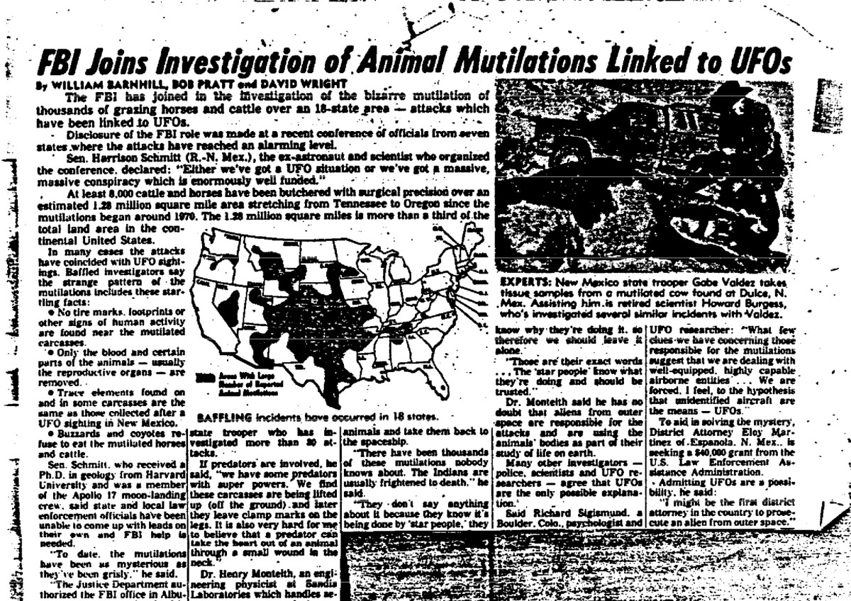 A newspaper clipping found in the now declassified FBI documents from their investigation into animal mutilations in the 1970s.