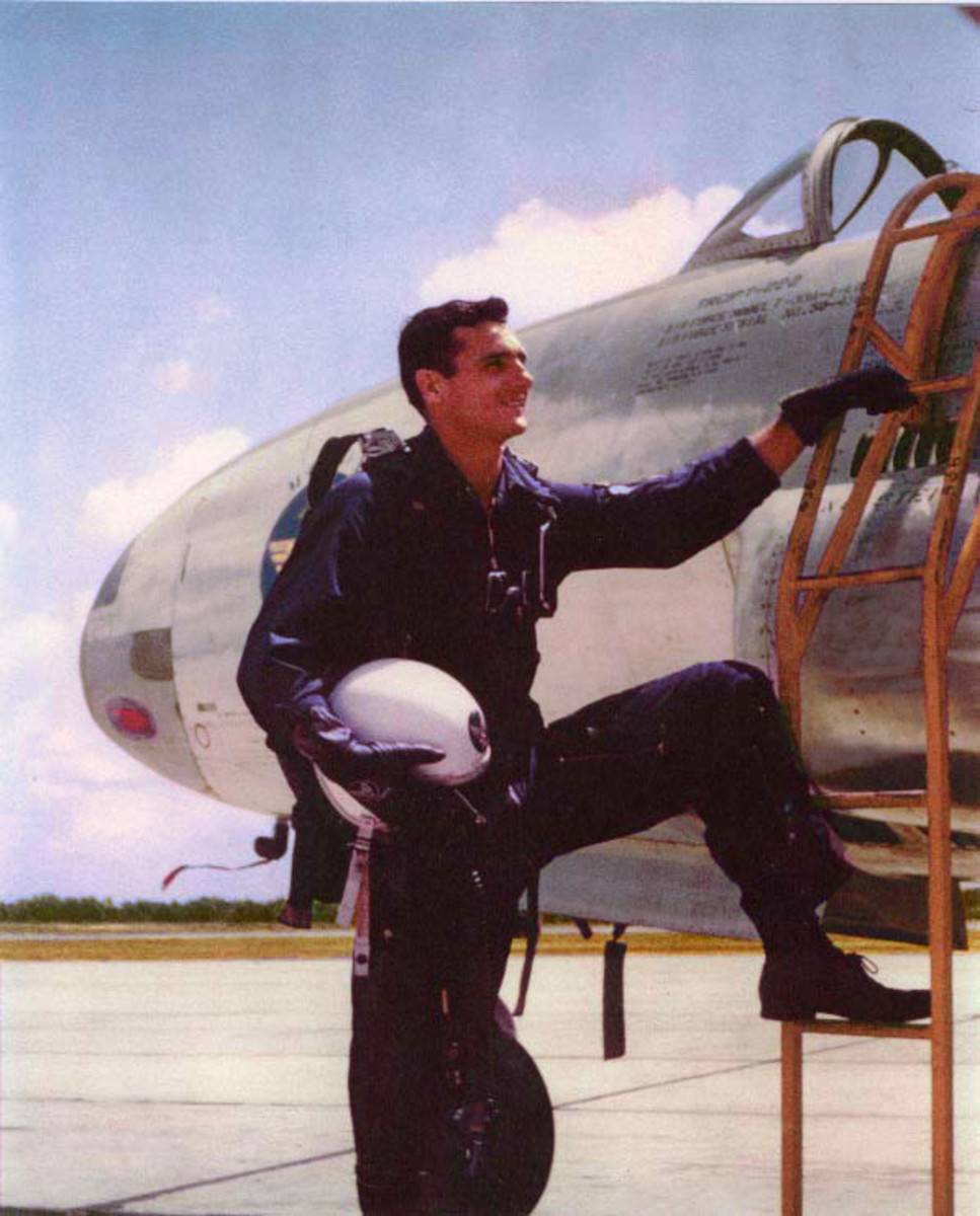 Felix Moncla by a T-33 at Truax Field in Madison, Wisconsin, 1953.
