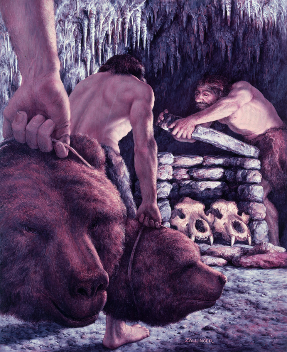 Neanderthal men collecting bear skulls.