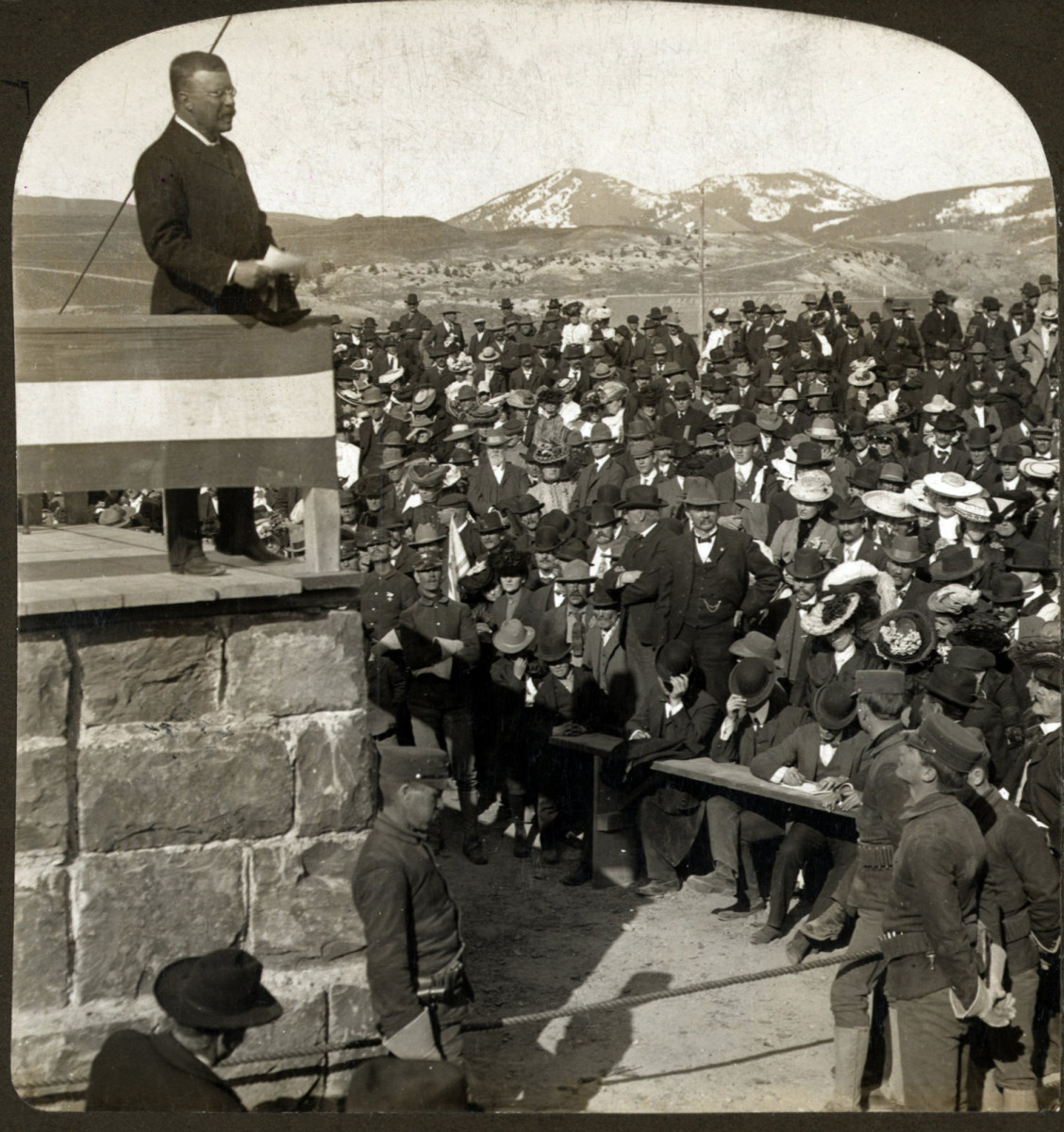President Theodore Roosevelt's western tour, a speech at the entrance to Yellowstone National Park, 1903.