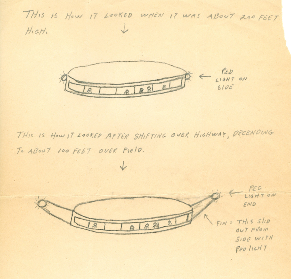Image depicting an alien space ship, at 200 feet and 100 feet above the Earth's surface, drawn by alleged alien abductee Betty Hill and regarded as one of the first examples of the Flying Saucer alien spaceship archetype, September 20, 1961.