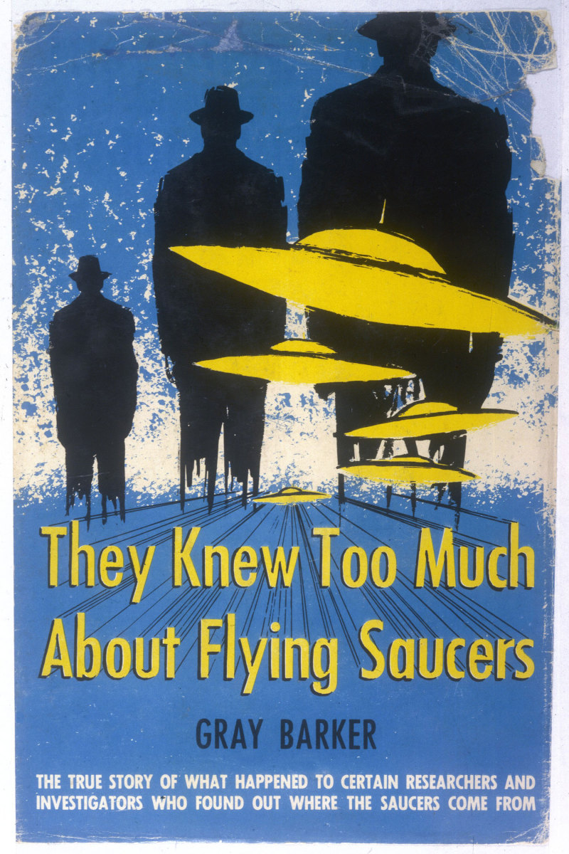 The cover of Gray Barker's book, They Knew Too Much About Flying Saucers.