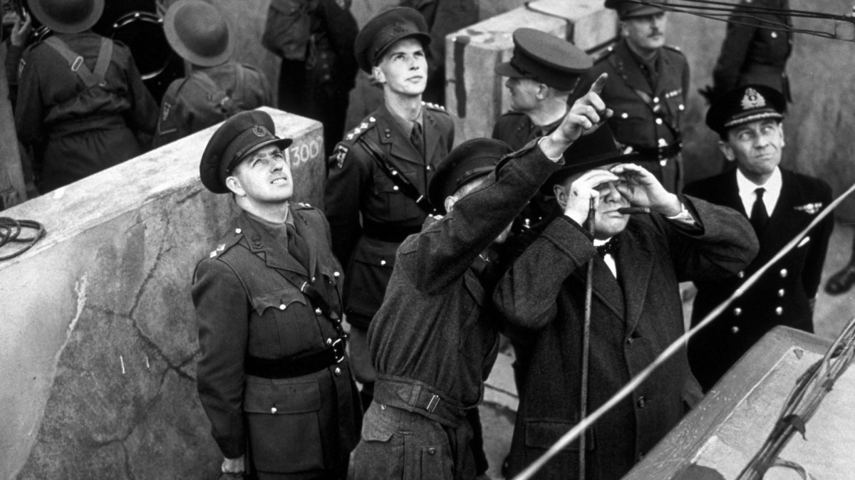 Winston Churchill during a visit to an anti-aircraft site in London, 1941.