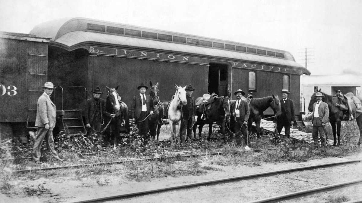 The special car of the Union Pacific Railroad for the mounted rangers organized by UP Special Agent Timothy Keliher to stop the Wild Bunch Gang led by Butch Cassidy and the Sundance Kid, late 1890s.