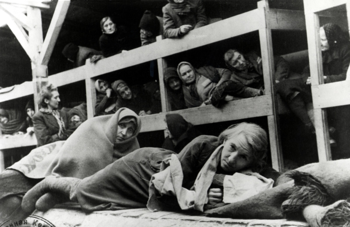 Women in the barracks at Auschwitz, Poland, January 1945. Photo taken by a Russian photographer shortly after the liberation of the camp.